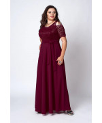 Довге нарядне бордове плаття з гіпюром