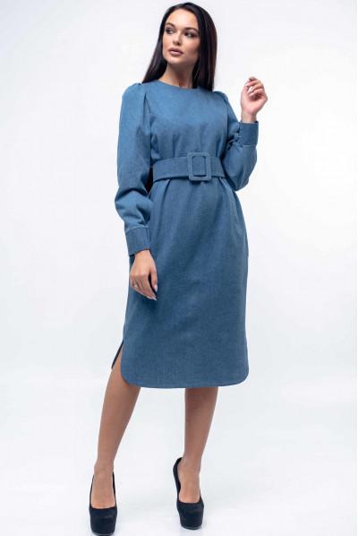 Джинсове плаття прямого силуету з фігурним низом