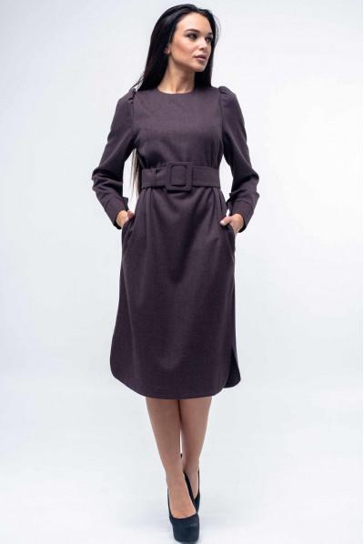 Елегантне пряме плаття кольору баклажан