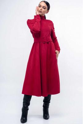 Малинове замшеве плаття з пишною спідницею