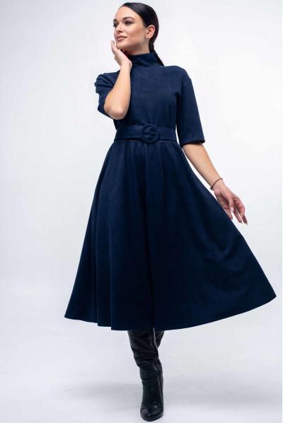 Замшеве темно-синє плаття з пишною спідницею