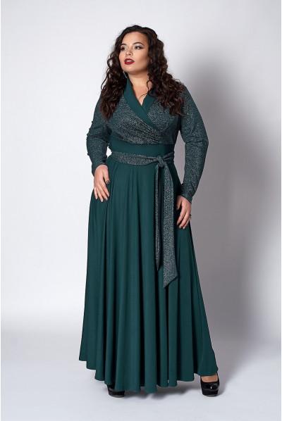 Довге смарагдове нарядне плаття з люрексом