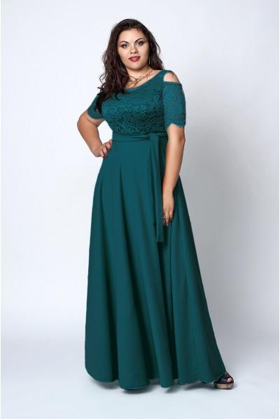 Довге нарядне зелене плаття