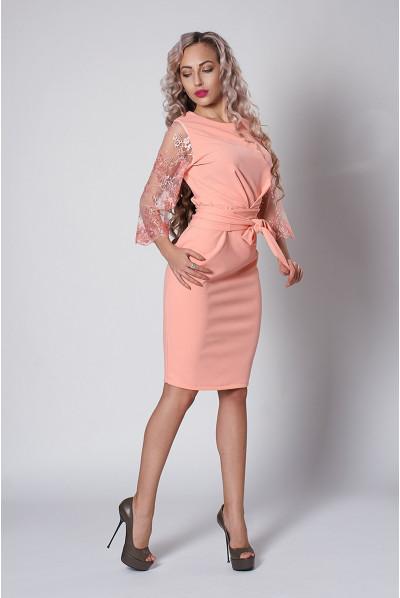 Ніжне нарядне персикове плаття футляр