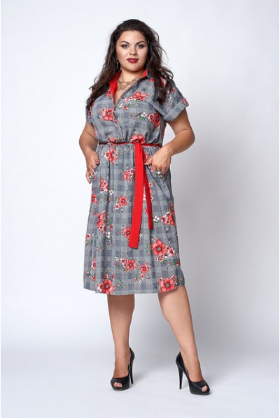 Літнє плаття з оригінальним принтом та червоним паском