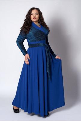 Довге яскраво-синє нарядне плаття з люрексом
