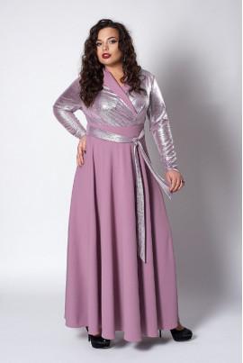 Довге нарядне плаття фрезового кольору з люрексом