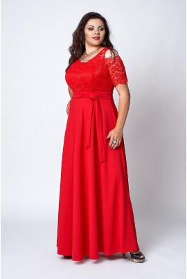 Довге вечірнє плаття червоного кольору з гіпюром