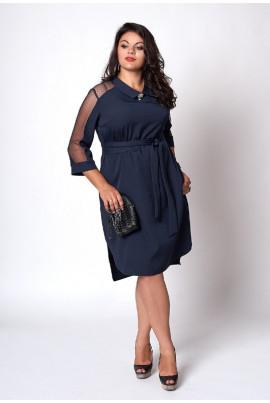 Недороге нарядне плаття темно-синього кольору