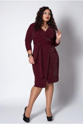 Плаття з люрексу бордового кольору на запАх