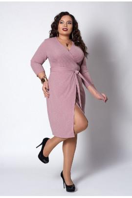 Плаття з люрексу пудрового кольору на запАх
