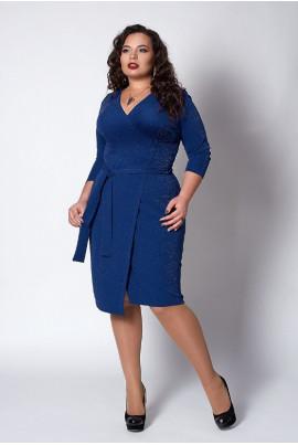 Плаття з люрексу яскраво-синього кольору на запАх