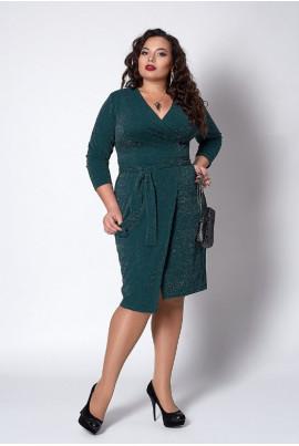 Плаття з люрексу темно-зеленого кольору на запАх