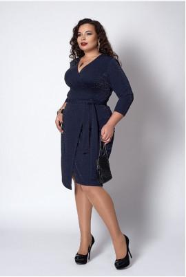 Плаття з люрексу темно-синього кольору на запАх