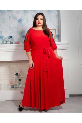 Нарядне червоне плаття в підлогу під пояс