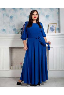 Нарядне яскраво-синє плаття в підлогу під пояс
