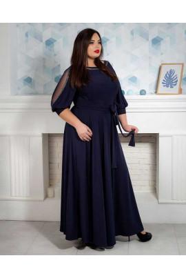 Нарядне темно-синє плаття в підлогу під пояс