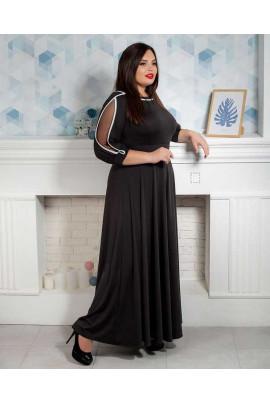 Нарядне чорне плаття в підлогу під пояс