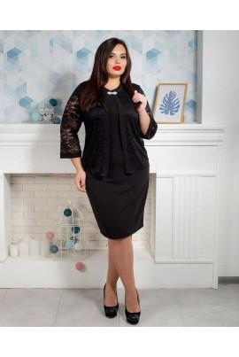Недороге чорне плаття батал з гіпюровою накидкою