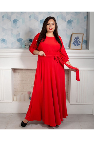 Червоне плаття в підлогу з бусинами на рукавах