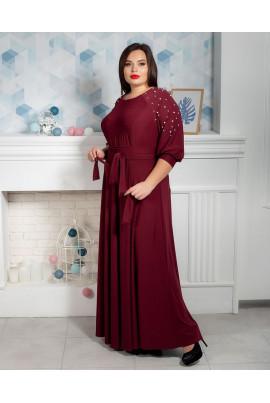 Марсалове плаття в підлогу з бусинами на рукавах