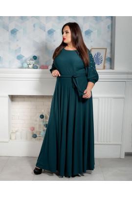Смарагдове плаття в підлогу з бусинами на рукавах