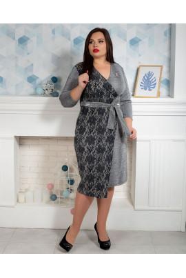 Оригінальне світло-сіре плаття батал двофактурне