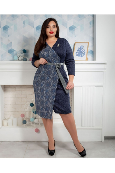 Оригінальне синє плаття батал двофактурне