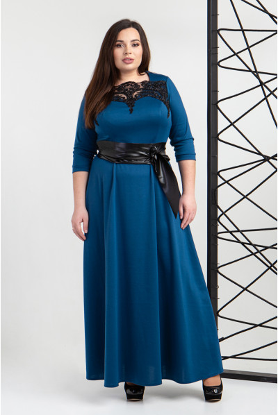 Ошатне трикотажне нарядне плаття кольору морськоъ хвилі