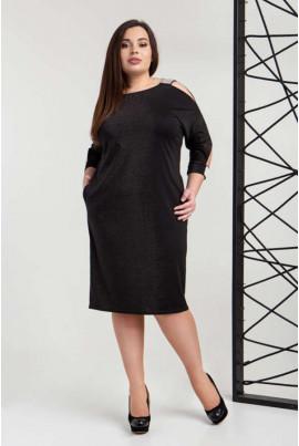 Нарядне люрексове чорне плаття великих розмірів