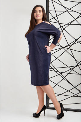 Нарядне люрексове синє плаття великих розмірів