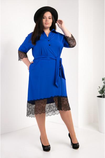 Модне синє плаття-сорочка великого розміру