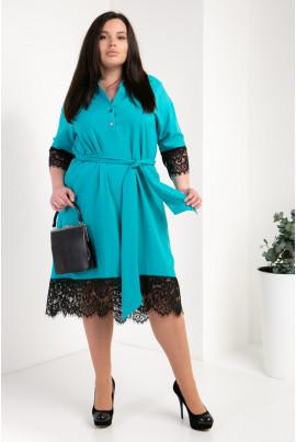 Модне бірюзове плаття-сорочка великого розміру