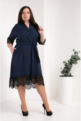 Модне темно-синє плаття-сорочка великого розміру