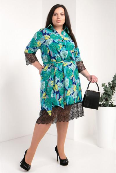 Модне зелене с прінтом плаття-сорочка великого розміру