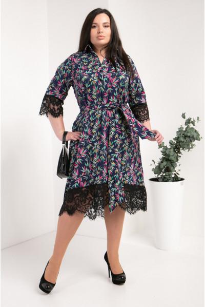 Модне прінтоване чорне плаття-сорочка великого розміру