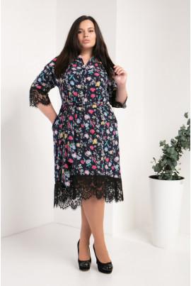 Модне квіткове плаття-сорочка великого розміру