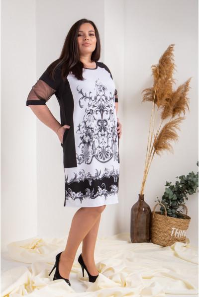 Оригінальне чорне-сіре плаття великого розміру