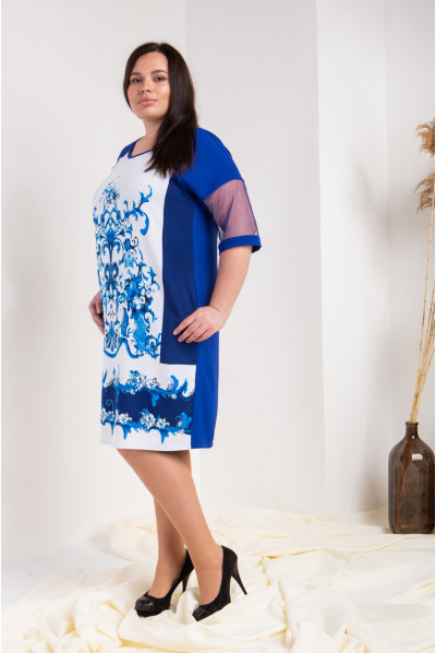Оригінальне синьо-біле плаття великого розміру