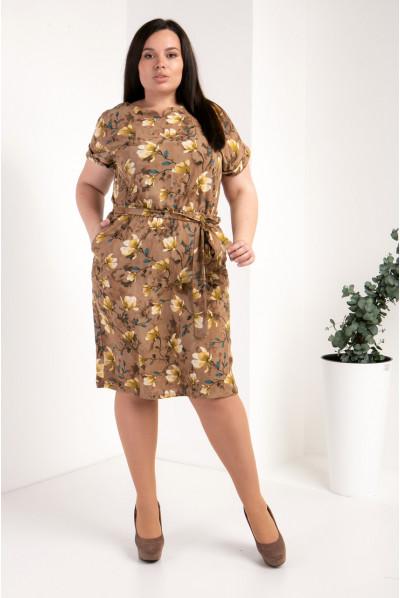 Квіткове бєжева плаття розміру плюс сайз