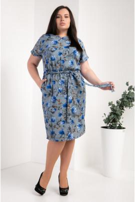 Квіткове синє плаття розміру плюс сайз