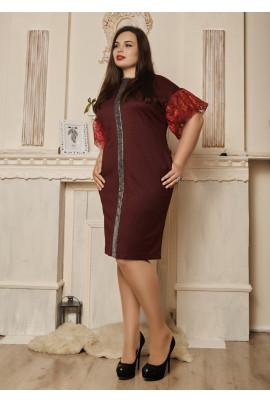 Нарядне плаття великих розмірів з рукавами ліхтариками бордове