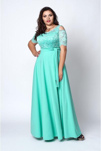 Довге нарядне плаття бірюзового кольору з гіпюром