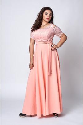 Довге нарядне плаття персикового кольору з гіпюром
