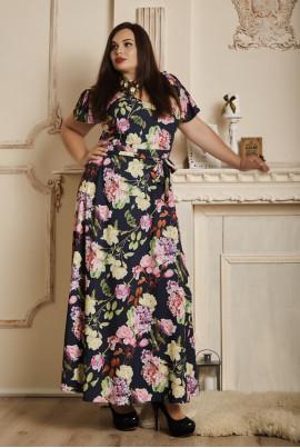 Довге літнє плаття чорного кольору плюс сайз