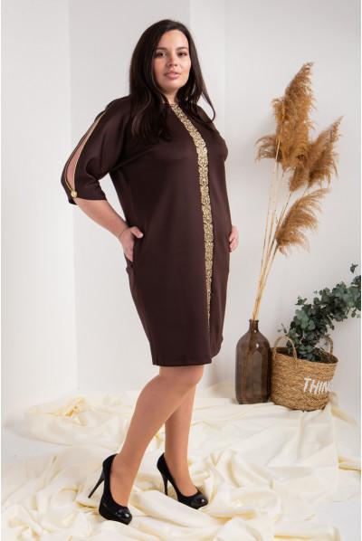 Нарядне шоколадне плаття плюс сайз