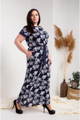 Літнє довле плаття плюс сайз синього кольору