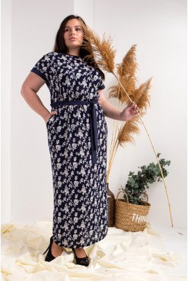 Літнє довге плаття плюс сайз з поясом