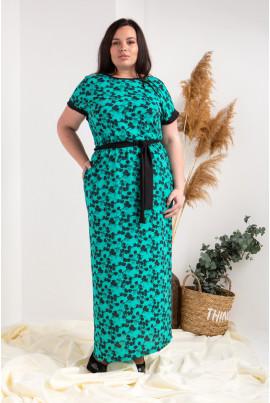 Літнє довге плаття плюс сайз зеленого кольору