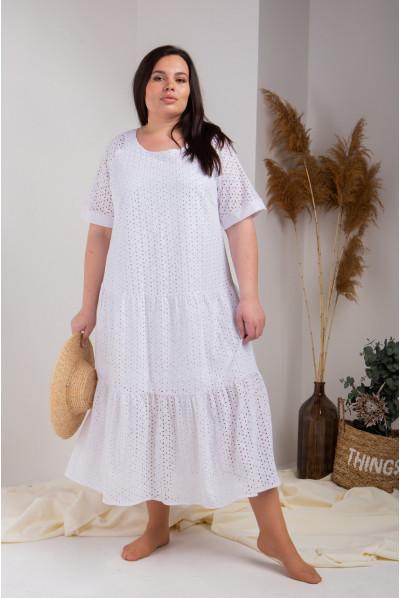 Натуральне вільне плаття білого кольору із прошви